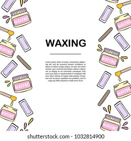 Banner template with waxing and hair removal illustration. Hand drawn design elements.