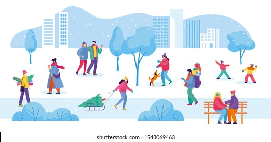 Banner template with winter activities in the park. Happy people walk around the park, a couple sit on a bench, a girl plays with her dog. Flat cartoon vector illustration. Cute characters.