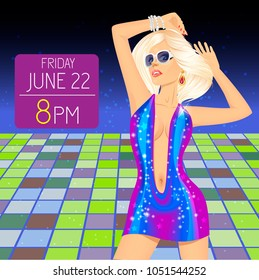 Banner or template with young woman in nightclub dances on the floor. Party flyer