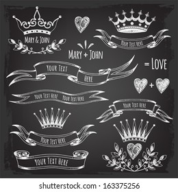 Banner templates, elements. Elements of design for wedding. Valentine's Day