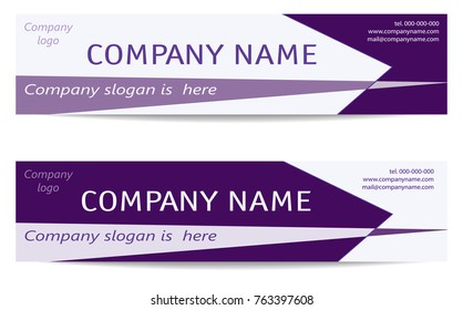 Banner Templates set in bright purple. Two Business Headers. Creative Modern Reverse Design. Layout for web banners, business cards, promotion, advertising, marketing. Vector EPS10 illustration