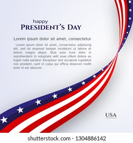 Banner text Happy President's Day American flag ribbon stars stripes on a light background Patriotic American theme USA flag of a wavy ribbon Design element for President's Day Patriotic ribbon Vector