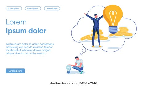 Banner Thinking about Flaws Concept Bright Idea. Man Casual Clothes Sits above Dark Light Bulb and Dreams that he Standing Business Suit on Background Coins and Large Glowing Light Bulb.