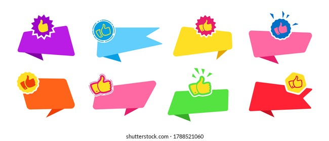 Banner thumb up, for text flat design set. Promotion marketing advertising blank cartoon sticker. Recommended tag label collection, decorative sale icons, explosion. Web icon kit. Isolated vector