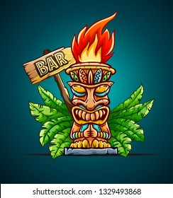 Banner with Tiki ethnic traditional tribal mask. Totem symbol with human face from hawaiian culture in green palm jungle leaves. Cocktail bar sign design. Eps10 vector illustration.