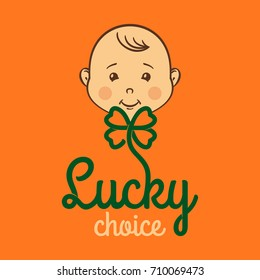 Banner for toyshop, happy child with lucky clover. Vector template.