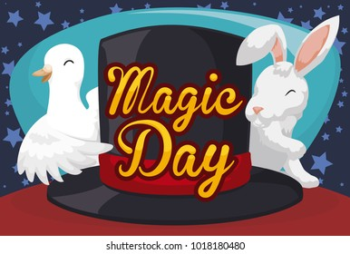 Banner with traditional animals to perform magic tricks: dove and rabbit behind a top hat to commemorate Magic Day celebration.