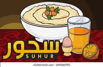 Banner with traditional breakfast for pre-fasting during Suhur (written in Arabic calligraphy) in holy month of Ramadan: hummus bi tahini with chickpeas, boiled egg and orange juice.