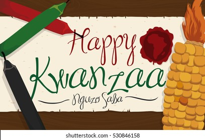 Banner with traditional corn and candles for Kwanzaa celebration and scroll with greeting sign and stamp with African silhouette over a wooden table.