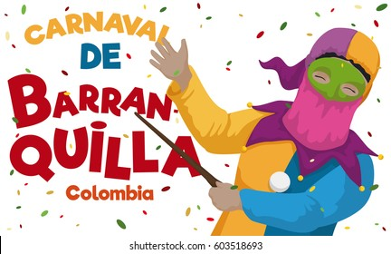 Banner with traditional monocuco character celebrating the Colombian Barranquilla's Carnival (written in Spanish) with colorful confetti.
