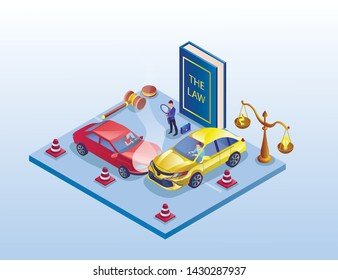 Banner Traffic Accident Investigation Isometric. Cars Collided Road. On Platform Stands Large Book Law, Judges Hammer and Scales. Consideration Case Involving an Auto. Vector Illustration.