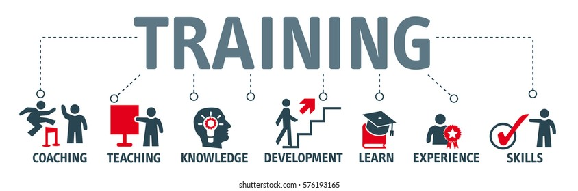 Banner Training concept. Keywords and vector icons