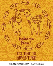 banner for travel and adventure with cute doodle alapacas and feather decoration, yellow color, vector illustration