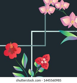 Banner with tropical flowers, hibiscus, bugambilia nad orchid