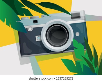 Banner with tropical summer mood, compact camera and green leaves