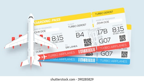 Banner with two boarding pass tickets and aircraft.