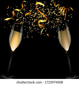 Banner with two glasses of champagne on a dark background with serpentine and confetti. Stock vector illustration.