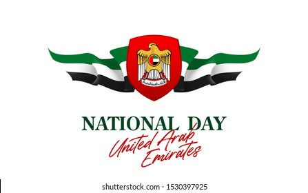 banner with UAE flag isolated on white with Inscription: 48 UAE National day, Spirit of the union, United Arab Emirates, Flat design Logo Anniversary Celebration Abu Dhabi 48 National day Card