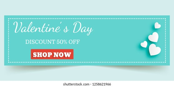 Banner valentine day design for advertising,valentine day sale concept banner.background for seasonal retail promotion. Vector illustration.