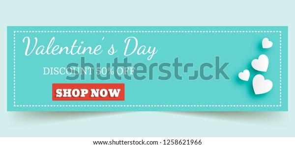 Banner valentine day design for advertising,valentine day sale concept banner.background for seasonal retail promotion. Vector illustration.