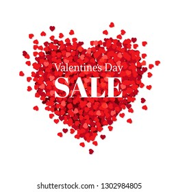 Banner Valentines Day Sale With Gradient Mesh, Vector Illustration