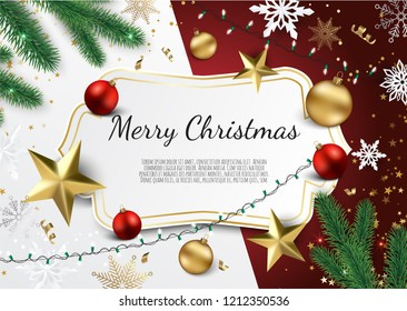 Banner with vector christmas tree branches, gold stars, christmas balls and space for text.