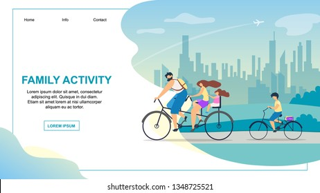 Banner Vector Flat Illustration of Family Activit. Healthy Lifestyle is Good Choice for Young Family from Big Noisy Dirty City Guys Riding Bike. Dad Pedals and Holds Wheel. Daughter on Small Bicycle.