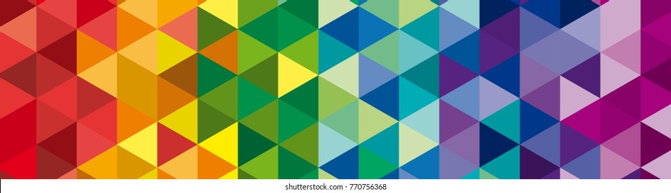 banner Vector geometric background, mosaic of triangles and cubes in rainbow