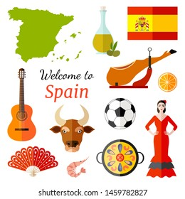 Banner with vector icons of Spain and the inscription Welcome to Spain. Famous spanish symbols. Travel Card.