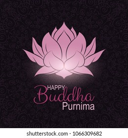 Banner for Vesak Day with Pink Lotus Flower. Buddha Purnima celebration. Colorful unique design for greeting card, invitation, web, banner, poster, flyer, brochure.Vector minimalism illustration