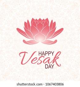 Banner for Vesak Day with Pink Lotus Flower. Vesak day celebration. Colorful unique design for greeting card, invitation, web, banner, poster, flyer, booklet, brochure. Vector minimalism illustration