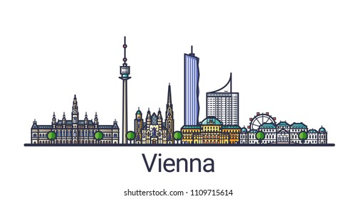Banner of Vienna city in flat line style. Vienna city line art. All linear buildings separated and customizable.