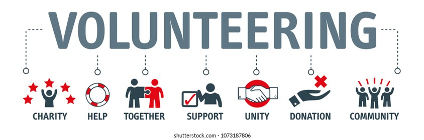 Banner Volunteer Aid Assisstant Vector Illustration Concept
