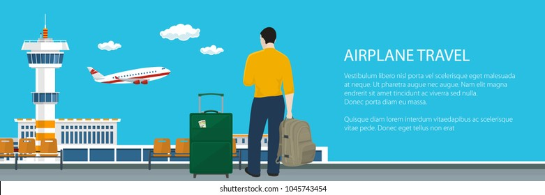 Banner with Waiting Room at the Airport, Man with Trolley Suitcase and Backpack Looking out the Window on a Flying Airplane, Passenger Air Transportation, Travel Concept, Vector Illustration