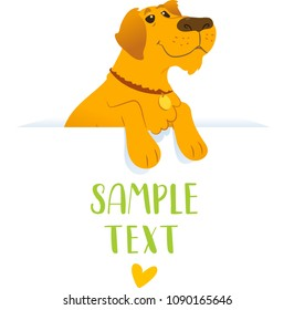 Banner wit dog. Vector flat illustration