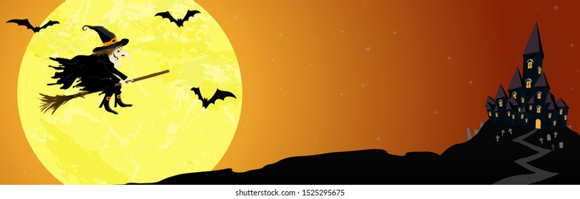banner with a witch and a dark castle in front of full moon with scary illustrated elements for Halloween background layouts
