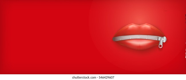 Banner of Womans mouth with closed red lips and zipper. Concept of secret or silence. Vector Illustration Isolated on background.