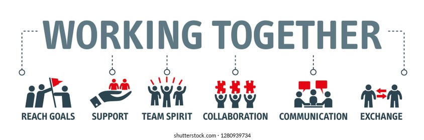 Banner working together concept - contains such icons as collaboration, reach goals, team spirit, support, communication,  and exchange.