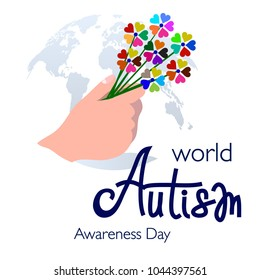 Banner for World Autism Awareness Day with Flowers in Hand Composed of Colorful Pieces on Globe Map Background. Solidarity with Sick Children, Struggle for Equal Rights & Love Concept