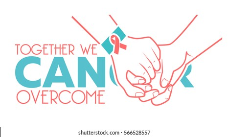 banner  - World Cancer Day. Icon in the linear style. slogan Together we can overcome