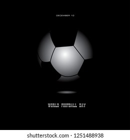 Banner for World Football Day with a ball on a black background