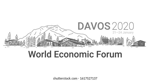 Banner written Davos 2020, world economic forum. Picturesque alpine city. Interesting ways to organize leisure and sports activities. Beautiful landscape, city and snowy mountain, slide.