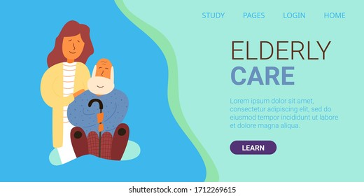 Banner written elderly care. Vector illustration. Adult daughter stands behind an elderly father. Gray-haired old man with cane. Caring for elderly parents at home during pandemic.