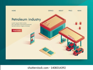 Banner is Written Petroleum Industry Lettering. Modern Equipped Refueling, Cars are worth Refueling. Calculation Fit Liters in Tank and Automatic Debit Payment. Landing Page Isometric.