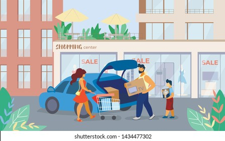 Banner is Written Shopping Center Sale Cartoon. Flyer Family Bought TV on Sale at Mall. Poster Man Puts Box With Purchase in Car. Family Parking Lot Near Store. Vector Illustration.