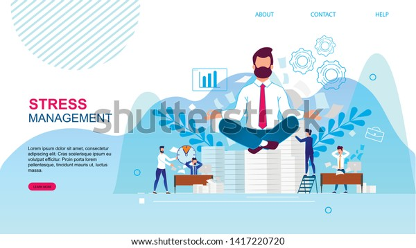 Banner Written Stress Management Landing Page Stock Vector Royalty Free 1417220720