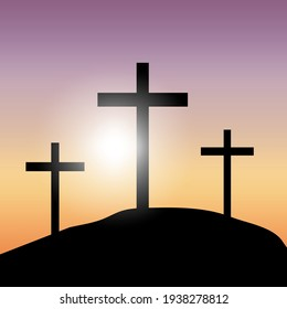 Banner with yellow three crosses sunset. Science background. Vector illustration. Stock image. EPS 10.