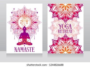 banner for yoga studio or yoga retreat with human in lotus asana and fantasy mandala ornament, vector illustration