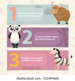 Banner with zoo animals. Concept zoo banner. Panda,Zebra,Yak,