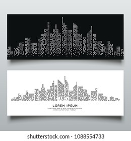 Banners Abstract building dot black and white design background, vector illustration